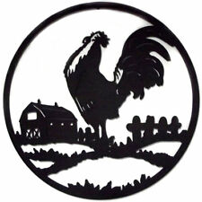 Rooster Farm Metal Wall Art Laser Cut Iron Sculpture Decor Black 80cm