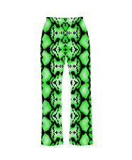 Green Snake Skin Reptile Animal Print Pyjama Bottoms Loungewear Fashion Festival
