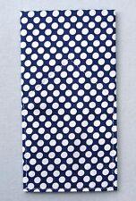 POCKET SQUARE Navy Blue Jumbo Polka Dot Flat Top  Pre folded  & Sewn