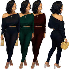 NEW Stylish Women's Long Sleeves Off Shoulder Solid Color Bodycon Jumpsuit 2pcs
