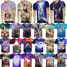 New 3D Print Men Women Cat Kitty Digital Casual Short Sleeve Tee Top T-Shirt