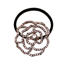 Mia Rhinestone Crystal Camilia Ponytailer Hair Accessory, Rose Gold 1pc