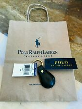 NEW RALPH LAUREN BLACK LEATHER POLO HORSE EQUESTRIAN KEY-RING + GIFT BAG