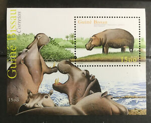 Hippopotamus MNH Souvenir Sheet 2002 Guinea-Bissau.