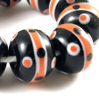 Black and Orange Halloween Glass Beads, Handmade Lampwork (10 Pieces)