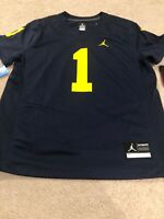 New Nike Women's Jordan Michigan Wolverines Football Jersey #1 Size Medium Navy
