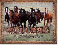 Welcome Friends Horses Rustic Cabin Cowboy Wall Bar Wall Decor Metal Tin Sign