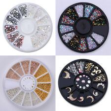 4 Boxes/Set Nail Rhinestone Beads Colorful Clear 3D Nail Art Decoration in Wheel