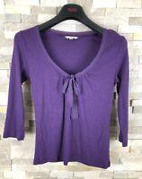 Lk Bennett Ladies Size S Purple Top T Shirt Front  Knot