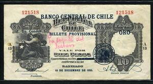 Chile 1925, 10 Pesos ( 1 Condor ), P73, VF+ SCARCE