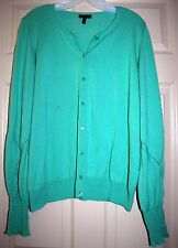 Escada Aqua Turquoise Green Cardigan Sweater w/Cool Puffy Sleeves sz 44 IT 14 US
