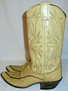 Vintage Nocona, LADIES TAN EMBROIDED LEATHER WESTERN Boot Size 5 A
