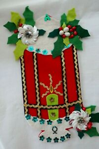 "Vintage MCM Embellished Christmas Candle Sequins Bric Brac Decor 9"" Tall"