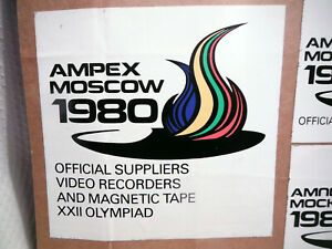 AMPEX OFFICIAL SUPPLIER 1980 MOSCOW XXII OLYMPIAD ~ VIDEO TAPE BOX STICKERS.
