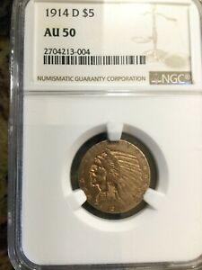 1914-D $5 Gold Indian Head NGC AU 50 Key Date