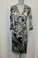 Diane von Furstenberg DVF New Julian Two Black White Print Silk Wrap Dress 8 M