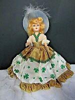 "Vintage 8"" 1950's Irish Girl Doll Ethnic Dress Shamrock Pattern Blue Feather Hat"