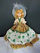 "New ListingVintage 8"" 1950's Irish Girl Doll Ethnic Dress Shamrock Pattern Blue Feather Hat"
