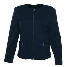 Lauren Ralph Lauren Women's Collarless Twill Jacket Navy Blue Size 16