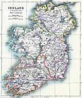 Ireland Map irish Vintage Illustrated Travel Poster Print  Framed Canvas
