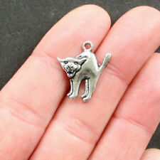 10 Cat Charms Antique Silver Tone Arched Back Ideal for Halloween - Sc1522