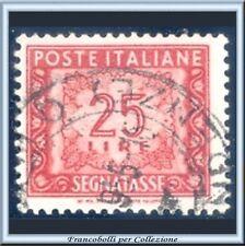 1954 Italia Repubblica L. 25 Segnatasse Ruota Usato n. 107