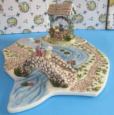 Meadowlark Garden Village Base Well & Bridge Blue Sky Clayworks Heather Goldminc
