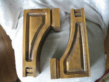 """2 Solid Wooden Carved Wall Bracket Shelves 9.25"""" x 5"""" x 3.25"""" VERY NICE"""