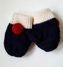 Little Girls Winter Woolen Mittens With Red Rose Detail - Age 3-6 yrs - New