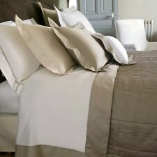 Yves Delorme Cocon White Queen Flat Sheet Taupe Sureau Border Cotton Sateen New