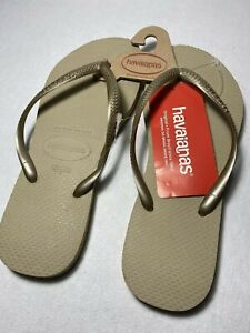 Havaianas Womens grey/light golden Thong Flats Flip-Flops Sandals 9/10W NWT
