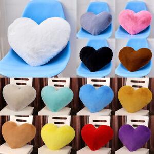Heart Shaped Soft Plush Throw Pillow Case Fluffy Plush Sofa Cushion Covers Decor