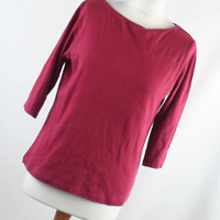 Cotton Traders Womens Size 10 Red Plain Cotton Top