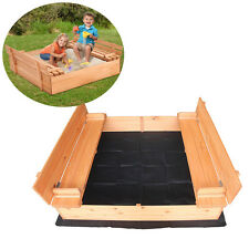 "Outdoor Covered Sandbox with Two Bench Seats For 3-8 Years Old Kids 47"" x 47"""