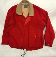 VTG 80s Pendleton Outdoors Man Wool Coat Red Thinsulate Jacket Mens Size Large