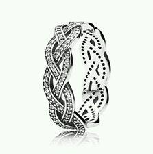 Genuine PANDORA Sterling Silver CZ Plait Statement Ring *size 52* 190913cz