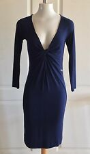 Miss Sixty Womens S Dress Blue Long Sleeve V Neck Sheath Bodycon