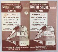 Railroad Timetable Feb 1 1958 North Shore Line Chicago Mulwaukee Train Schedules