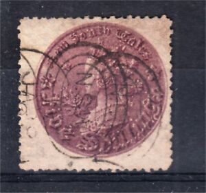 NEW SOUTH WALES 5/- PURPLE COIN WATERMARK INVERTED PERF 13 USED (G88)