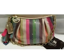 NWOT COACH POPPY LEGACY STRIPE SEQUINS SMALL BAG POUCH - MULTICOLOR # 16382