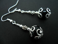 A PAIR OF DANGLY BLACK ONYX   BEAD  SILVER PLATED DROP EARRINGS. NEW