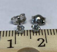 0.10 Ct D-E VS1 Diamond Round Stud Earrings 14K White Gold 2.3mm Excellent Cut