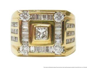 Massive 2.50ctw Fine Diamond Mens Ring 14k Gold 16.6gr Vintage Statement Sz10.75