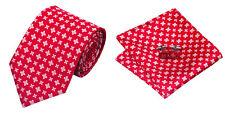 Red Novelty 100% Silk Classic Mens Necktie Tie Hanky Cufflink Set NT83