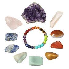 11PCS Gemstones Crystal Quartz Set Chakra Bracelet Rose Crystal Quartz Amethsyt