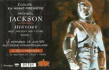 RARE / TICKET BILLET DE CONCERT - MICHAEL JACKSON : LIVE A PARIS ( FRANCE ) 1995