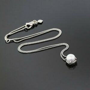 David Yurman 925 Sterling Silver Chatelaine 8mm Pearl Pendant Box Chain Necklace