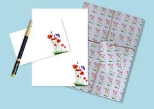 Coquelicots & Papillon Lettre papier et enveloppes stationnaire, Ensemble Cadeau