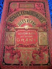 1929 JULES VERNE HETZEL CARTONNAGE ENFANTS CAP GRANT HACHETTE VOYAGES LIVRE BOOK