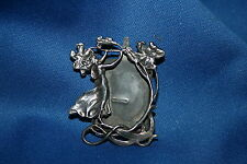 Art Nouveau Sterling Silver Picture Frame Brooch with Dancing Woman